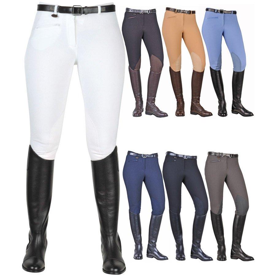 f7e58eab781a17 Pantaloni equitazione a coste con rinforzo al ginocchio modello Bochum