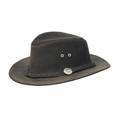 Cappello in cuoio modello australiano con treccia - Cappelli western ... bde7ca2ac34d