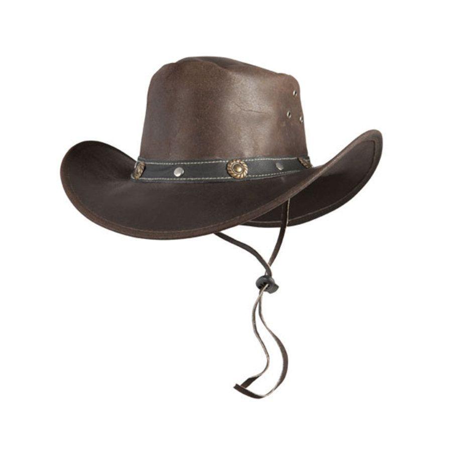 60% economico ricco e magnifico nuovo prodotto Cappello Western In Pelle Con Borchie In Ottone E Laccio