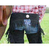 Chaps in pelle scamosciata con frange e borchia posteriore