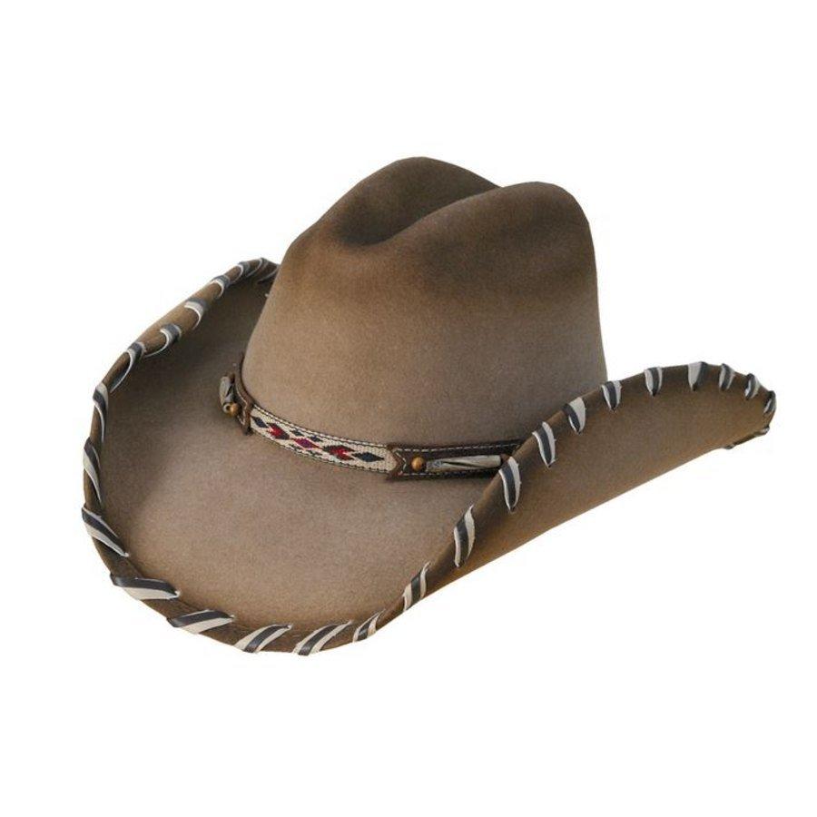 Cappello western in feltro con decorazioni in pelle Cheyenne 9676736f1d58