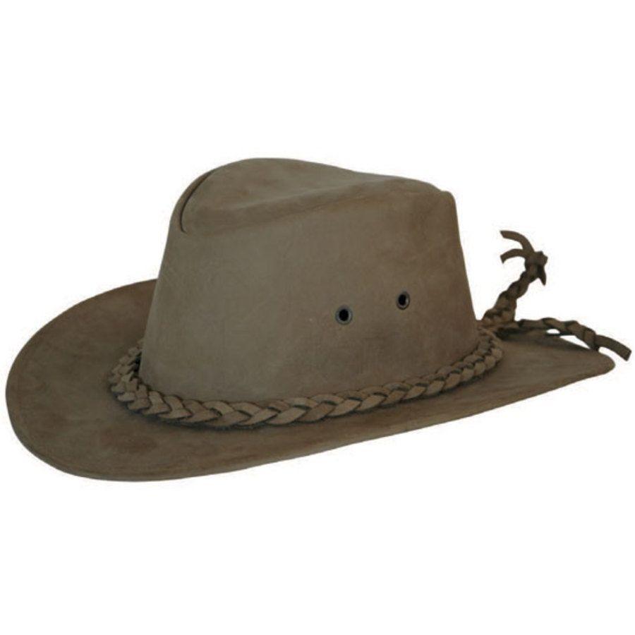 Cappello in cuoio modello australiano con treccia 766429d2b3bf